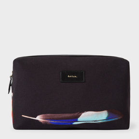 Paul Smith Men's Canvas 'Feather' Print Wash Bag