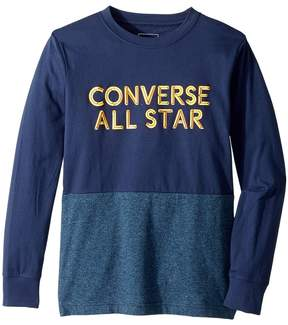 Converse Long Sleeve Static Heather Silicone Tee Boy's Long Sleeve Pullover
