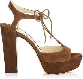 Jimmy Choo BELIZE 120 Cacao Suede Platform Sandals