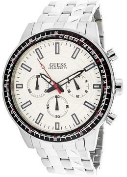 GUESS Men's U0801G1 Silver Stainless-Steel Japanese Quartz Dress Watch