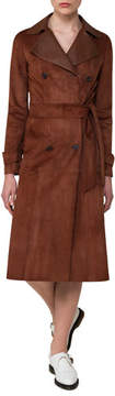 Akris Suede & Leather Double-Breasted Trench Coat, Bronze