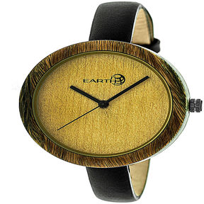 Earth Wood Unisex Green Strap Watch
