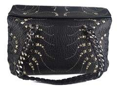 Roberto Cavalli Regina Medium Radiant Studded Black Leather Satchel