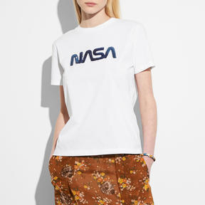 COACH EMBELLISHED SPACE T-SHIRT - WHITE