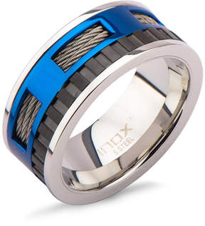 Zales Men's 9.5mm Cable and Pattern Band in Two-Tone IP Stainless Steel