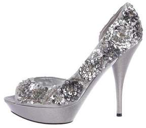 Nina Ricci Sequined Peep-Toe Pumps