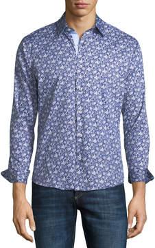 Neiman Marcus Slim-Fit Floral Wear-It-Out Sport Shirt, Blue