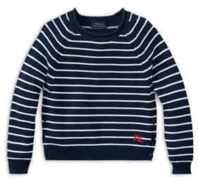 Ralph Lauren Toddler's Little Girl's& Girl's Cotton Striped Eyelet Sweater