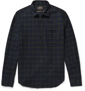 Beams Black Watch Checked Cotton-Flannel Half-Zip Shirt