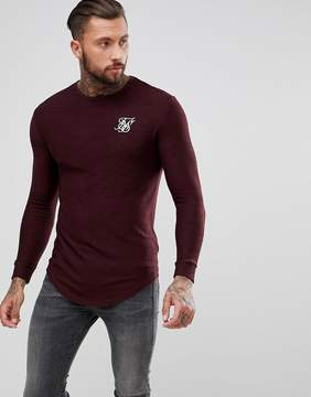 SikSilk Muscle Long Sleeve T-Shirt In Burgundy
