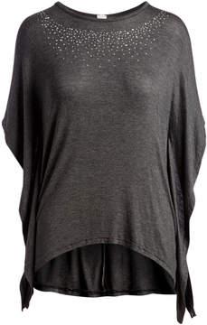 Celeste Charcoal Stud-Neckline Top - Women