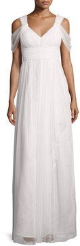 Donna Morgan Colette Dot Mesh Flowy Gown