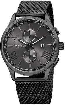 Akribos XXIV Mens Black Stainless Steel Mesh Bracelet Watch