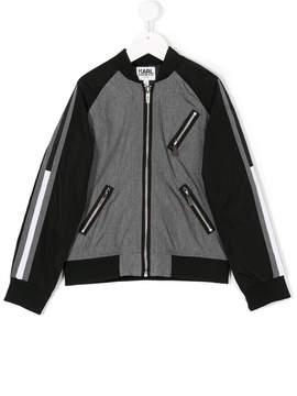 Karl Lagerfeld color block bomber jacket
