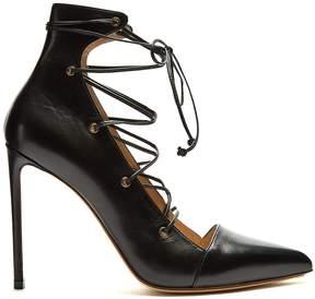 Francesco Russo Point-toe lace-up leather pumps