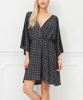 Bellino Black & Off-White Geometric Surplice Dress - Women