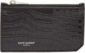 Saint Laurent Fragments crocodile-effect leather cardholder - BLACK - STYLE