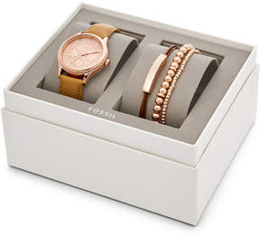 Fossil Modern Sophisticate Multifunction Tan Leather Watch and Jewelry Gift Set