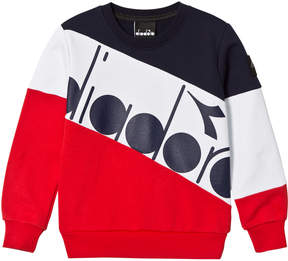 Diadora Navy, White and Red Branded Banner Sweater