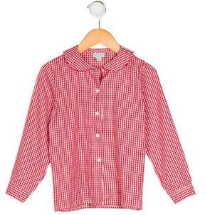 Papo d'Anjo Girls' Collared Gingham Top