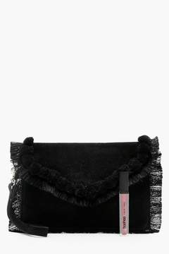 boohoo Real Suede Pompom Tassel Clutch