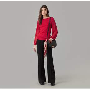 Amanda Wakeley | Red Cashmere Jumper With Silk Tulle Sleeve | L | Red