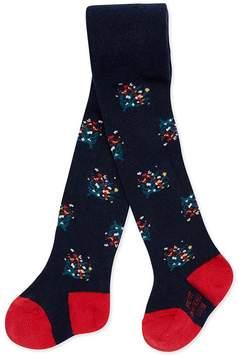 Petit Bateau Baby girl's floral motif tights