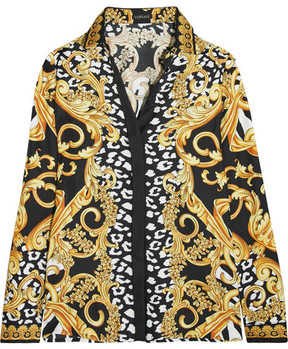 Versace - Printed Silk-twill Shirt - Yellow