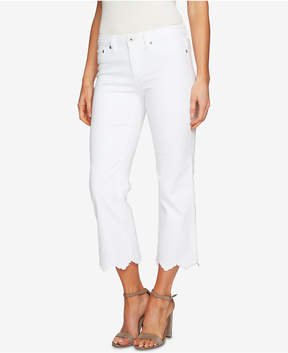 CeCe Embroidered Scalloped-Hem Jeans