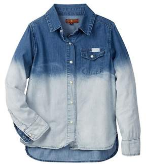 7 For All Mankind Dip Dye Snap Button Shirt (Big Girls)
