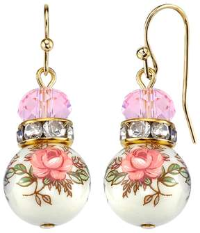 1928 Pink Beaded Rose Drop Earrings