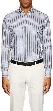 Barba Men's Striped Slub-Weave Cotton-Linen Shirt