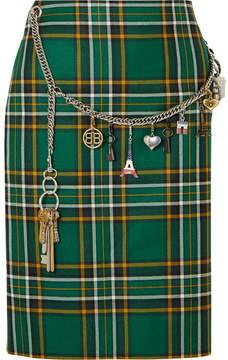 Balenciaga Chain-trimmed Tartan Wool Skirt - Green