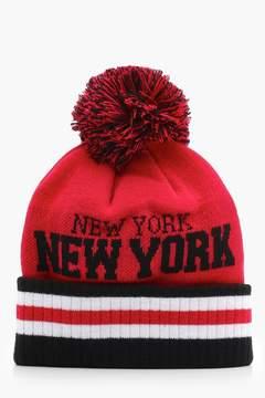 boohoo New York Bobble Beanie