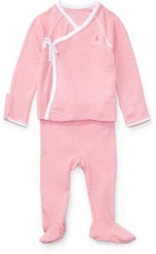 Ralph Lauren | Striped Kimono 2-Piece Set | 6-12 months | Paisley pink multi