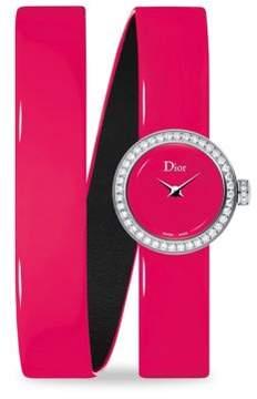 Christian Dior La D Diamond & Patent Leather Watch