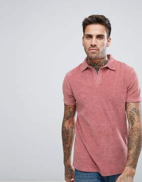 Asos Polo Shirt With Revere Collar In Pink Towelling