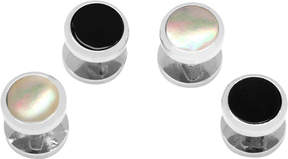Cufflinks Inc. Double Sided Onyx and MOP Round Beveled Studs (Men's)