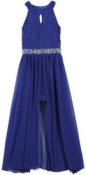 Speechless Girls 7-16 & Plus Size Keyhole Glitter Lace Bodice Walk-Through Dress
