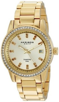 Akribos XXIV Lumin Gold Dial Ladies Watch