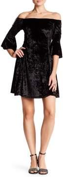 Angie Off-the-Shoulder Bell Sleeve Crushed Velvet Dress