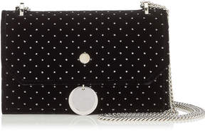 Jimmy Choo FINLEY Black Glitter Spotted Velvet Mini Cross Body Bag