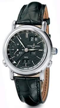 Ulysse Nardin GMT Perpetual Black Dial 18kt White Gold Black Leather Men's Watch 320-22-92