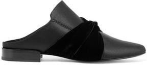 3.1 Phillip Lim Louie Velvet-trimmed Satin Slippers - Black