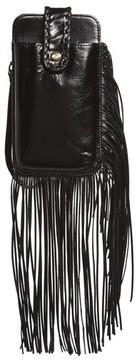 Women's Hobo Plume Fringe Calfskin Leather Smartphone Wristlet - Black