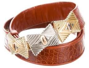 Judith Leiber Embellished Embossed Waist Belt