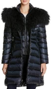 Dawn Levy Camille Mongolian Fur Trim Down Coat