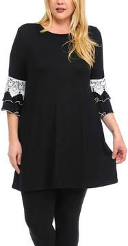 Celeste Black Lace-Accent Tunic Dress - Plus