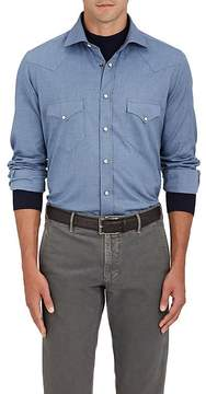 Luciano Barbera Men's Cotton Twill Western Shirt