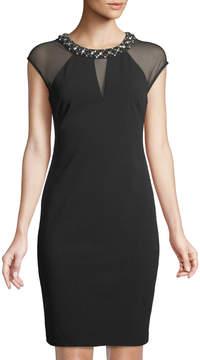 Eliza J Sheer-Paneled Necklace Cap-Sleeve Dress